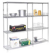 "Nexel Poly-Z-Brite Wire Shelving Add-On 42""W x 14""D x 63""H"