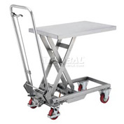 Best Value Stainless Steel Mobile Scissor Lift Table 220 Lb. Capacity - 28 x 18 Platform