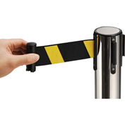 "Stainless Steel 39""H Retractable Stanchion With 6-1/2 Ft Yellow/Black Belt"
