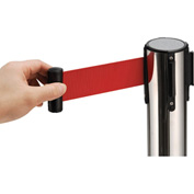 "Crowd Control Stanchion, 39""H Stainless Steel Post, 6-1/2' Red Retractable Belt"