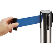 "Crowd Control Stanchion, 39""H Stainless Steel Post, 6-1/2' Blue Retractable Belt"