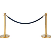"Blue Velour Rope 59"" With Ends For Portable Gold Post"