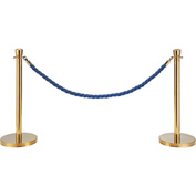 "Blue Vinyl Braided Rope 59"" With Ends For Portable Gold Post"
