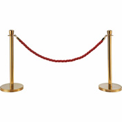 "Red Vinyl Braided Rope 59"" With Ends For Portable Gold Post"