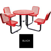 """36"""" Round Table with Chairs, Surface Mount, Expanded Metal - Black"""