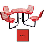 "36"" Round Table with Chairs, Surface Mount, Expanded Metal - Red"