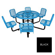 "46"" Round Table with Chairs, Surface Mount, Expanded Metal - Black"