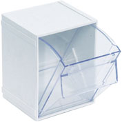 Quantum Tip Out Interlocking Bin QTB405 4-1/2 x 4 x 6 White - Pkg Qty 5