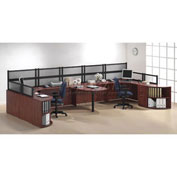 Storlie 2 Person Workstation with Peninsula Table and Desk Mounted Panels