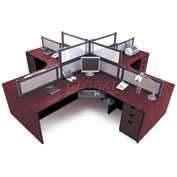 4 Person L-Desk Workstation with Desk Mounted Panels
