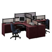 2 Person L-Desk Workstation with Desk Mounted Panels