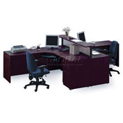 2 Person L-Desk Workstation with Dividing Counter Top