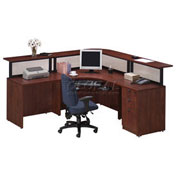 Cherry L-Desk Reception Station