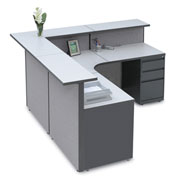 "Large L-Shaped Reception Station, 79""W x 79""D x 43""H"