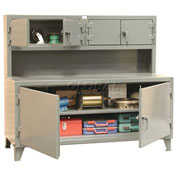"Strong Hold Cabinet Workstation with Upper Compartments - 108""W x 30""D x 56""H"