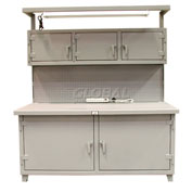 Strong Hold Cabinet Workstation with Light Fixture, Outlets and Pegboard