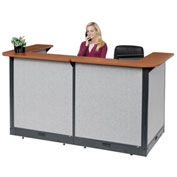 "Interion™ U-Shaped Electric Reception Station, 88""W x 44""D x 46""H, Cherry Counter, Gray Panel"