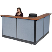 "L-Shaped Reception Station With Raceway, 80""W x 80""D x 46""H, Cherry Counter, Blue Panel"