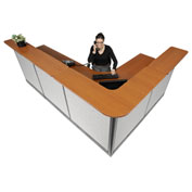 "Interion L-Shaped Reception Station With Raceway, 116""W x 80""D x 46""H, Cherry Counter, Gray Panel"