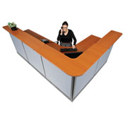 "Interion L-Shaped Reception Station With Raceway, 116""W x 80""D x 46""H, Cherry Counter, Blue Panel"