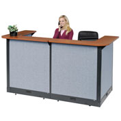 "U-Shaped Electric Reception Station, 88""W x 44""D x 46""H, Cherry Counter, Blue Panel"
