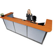 "Interion™ U-Shaped Electric Reception Station, 124""W x 44""D x 46""H, Cherry Counter, Blue Panel"