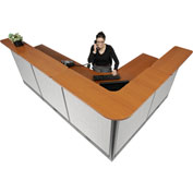 "L-Shaped Electric Reception Station, 116""W x 80""D x 46""H, Cherry Counter Gray Panel"