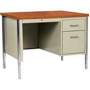 "Sandusky Steel Desk with Center Drawer - Single Right Pedestal - 45"" x 24"" - Putty/Oak Top"