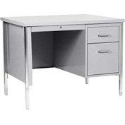 "Sandusky 45"" x 24"" Single Pedestal Steel Desk with Center Drawer Gray/Gray Top"