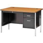 "Sandusky 48"" x 30"" Single Pedestal Teacher Steel Desk Black/Medium Oak Top"