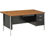"Sandusky 60"" x 30"" Single Pedestal Teacher Steel Desk Black/Medium Oak Top"