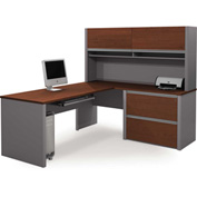Connexion L-Shaped Workstation with Oversized Pedestal in Bordeaux & Slate