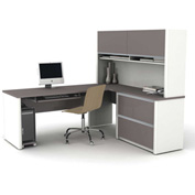 Connexion L-Shaped Workstation with Oversized Pedestal in Sandstone & Slate
