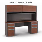Connexion Credenza and Hutch with Two Pedestals in Sandstone & Slate