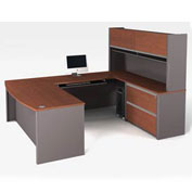 Connexion U-Shaped Workstation with Oversized Pedestal in Bordeaux & Slate