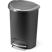 simplehuman® Semi Round Plastic Step Can - 13 Gallon Gray