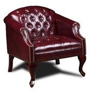 Boss Reception Button Tufted Club Chair - Vinyl - Oxblood