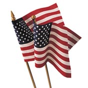 "8 x 12"" US Hand-Held Stick Flag with Gold Speartip, Pack of 12"