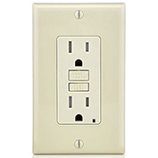 Leviton GFTR1-T SmartlockPro Self-Test GFCI Receptacle, Tamper Resistant, 15A, Light Almond