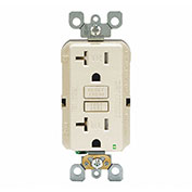 Leviton GFTR2-T SmartlockPro Self-Test GFCI Receptacle, Tamper Resistant, 20A, Light Almond