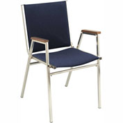 "Durable Multi-Purpose Arm Stack Chair - 1"" thick Seat Navy Fabric"