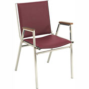 "KFI Stack Chair With Arms - Vinyl -2"" thick Seat Burgundy Vinyl"
