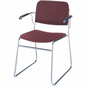 KFI Stack Chair with Arms and Sled Base - Burgundy Vinyl