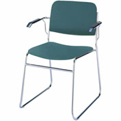 KFI Stack Chair with Arms and Sled Base - Forest Vinyl