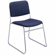 KFI Armless Stack Chair with Sled Base - Navy Fabric