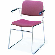 KFI Stack Chair with Arms and Sled Base - Burgundy Fabric