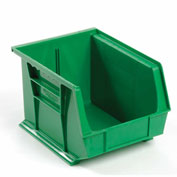 Global™ Plastic Stackable Bin 8-1/4 x 10-3/4 x 7, Green - Pkg Qty 6
