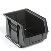 Global™ Plastic Stacking Bins - Parts Storage Bin 8-1/4 x 10-3/4 x 7, Black - Pkg Qty 6