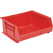 Global™ Plastic Storage Bin - Small Parts 16-1/2 x 14-3/4 x 7, Red - Pkg Qty 6