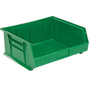 Global™ Plastic Stackable Bin 16-1/2 x 14-3/4 x 7, Green - Pkg Qty 6
